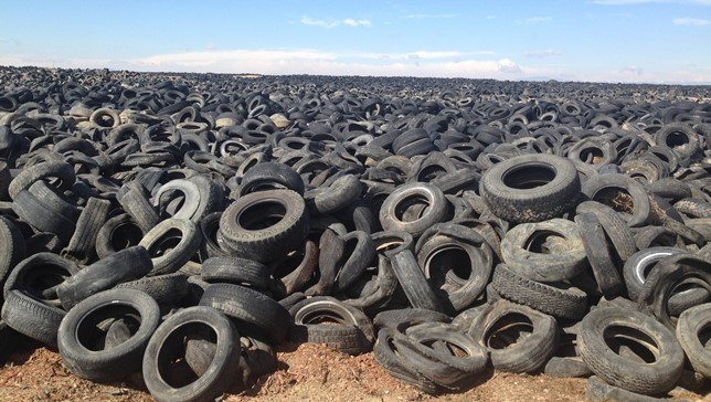 Mountain of used tires