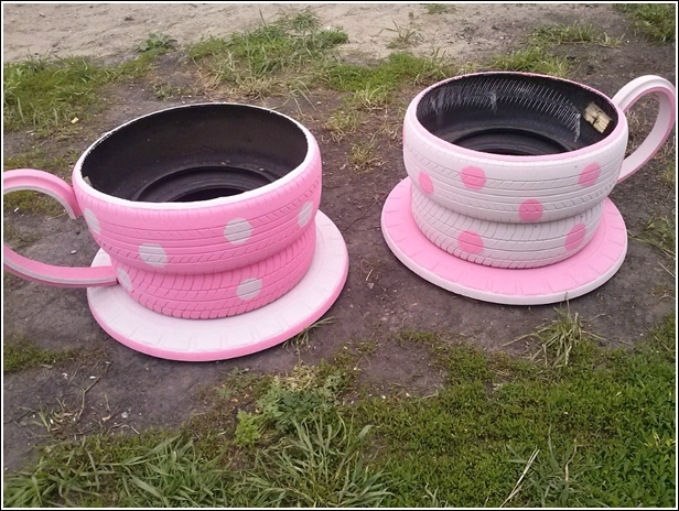 tire garden tea cups