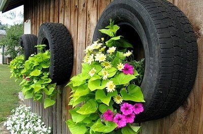 tire wall planters